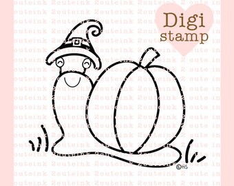 Snail Pumpkin Witch Digital Stamp - Halloween Snail digital art for - Card Making - Paper Crafts - Scrapbooking - Stickers - Coloring Pages