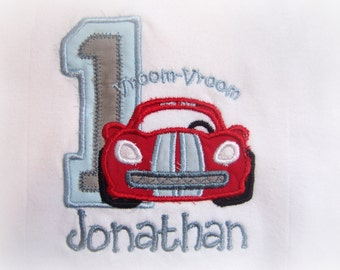 Personalized Baby Boy 1st Birthday Shirt, or one piece,  Cars in red and blue, birthday one piece