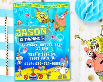 Spongebob Invitation Squarepants Birthday Card