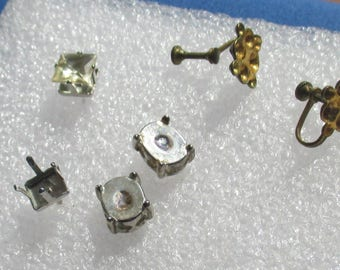 Lot Of Vintage Pierced & Screw On Earrings Missing Rhinestones Cabochons Repair Repurpose