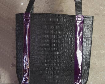 Croc embossed black and purple patent leather tote