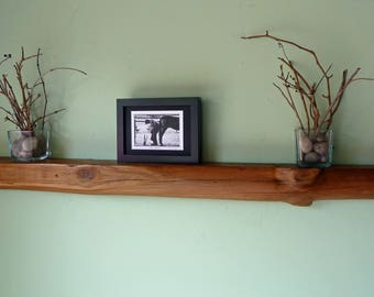 Reclaimed Wood Floating Shelf, Log Shelf, Natural Log Shelf