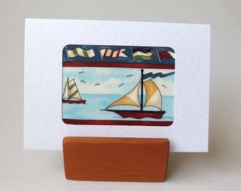 """Sailing BOATS Fabric Card. 6"""" x 4"""" with envelope.  Blank for any occasion. White textured greeting card. Nautical beach seaside ocean card"""