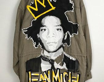 Jean Michel Basquiat. Custom Jacket. Basquiat. Jean-Michel. Basquiat jacket. Basquiat crown. Hand painted jacket. hand painted. One of kind