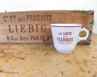 """Rare French Antique  Faience Soup Cup advertising"""" LIEBIG"""" 1920s"""