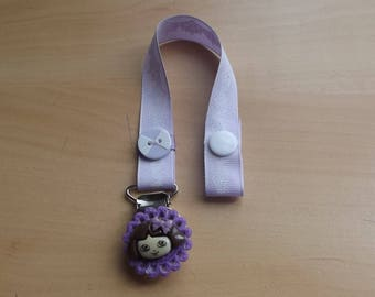 Pacifier clip mauve and purple for baby.