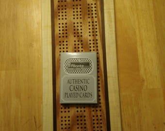 Cribbage board handmade Beautiful maple,oak and walnut laminate