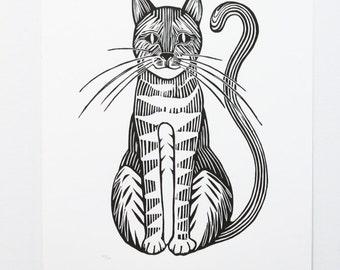 Cat woodcut print