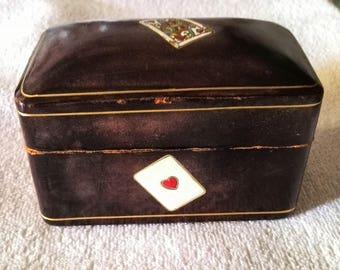 Vintage Leather Poker card Casket Box
