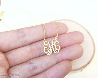 Monogram necklace etsy more colors dainty monogram necklace aloadofball Images
