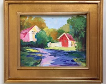 """Original Oil Painting with Frame, Plein Air, """"Phillips Mill, Summer 2016"""""""