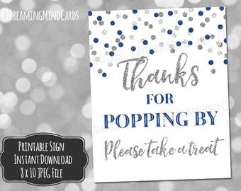 Printable Thanks for Popping By Popcorn Bar Sign 8x10 Navy Blue Silver Glitter Confetti Baby Shower Digital Download