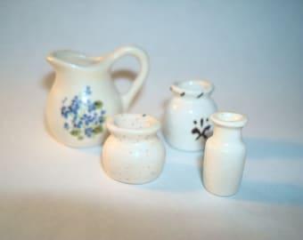 Miniature Doll House Kitchen Pitcher Vases Crocks and Milk Bottle Porcelain Ceramic Vintage Collection