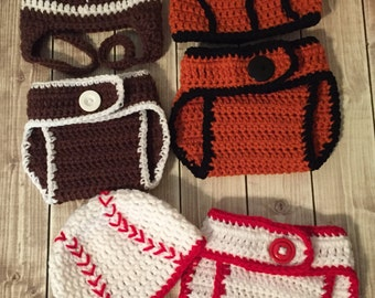 Made to Order Crocheted Baseball, Football or Basketball Diaper Cover Sets - Photo Prop, Baby Shower Gift