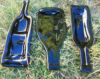 Melted Wine Bottle Glass 3 Piece Serving Dish Set, Wine Gift, Wine Gift, Eco Friendly