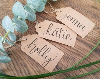 10 Kraft Custom Gift Tags, Personalized Gift Tags Wedding Favor Tags Custom Tags Bridal Shower Favor Wedding Place Card Custom Favor Tag