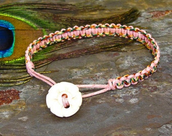 Pink Multicolor Knotted Macreme Friendship Bracelet with Bone Button Bead Toggle - B38
