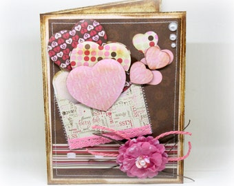 Valentine's Day Card - Pink Hearts Card - Love Card - Happy Valentine's Day - Brown Shabby Chic Handmade Valentine Card