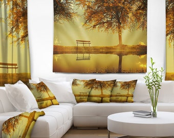 Designart Golden Planet Landscape Photography Wall Tapestry, Wall Art Fit for Wall Hanging, Dorm, Home Decor