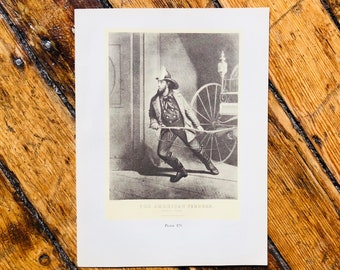 c. 1952 - FIREMAN PRINT - vintage lithograph - Currier & Ives print - historical Firefighter print - NYFD - volunteer fire department - hero
