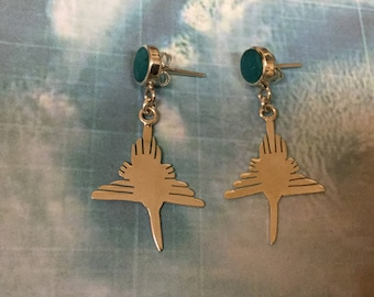 Nazca Silver Earrings, Nazca Bird Earrings, Sterling Silver Nazca Lines Earrings, 950 Sterling Silver Nazca Earrings