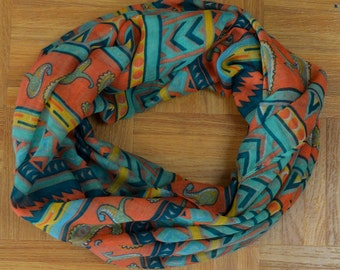 Teal Orange Mixed Pattern Light Weight X-large Infinity Scarf Loop Cowl
