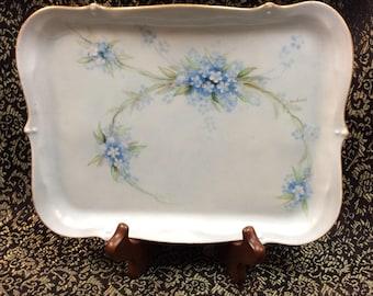 c.1900 Hand Painted artist signed Z. Woodward Porcelain Vanity Tray/Platter