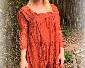 Boho Gypsy Linen and Lace Tunic in Autumn Rust Bohemian Lagenlook by Tattered Magnolia