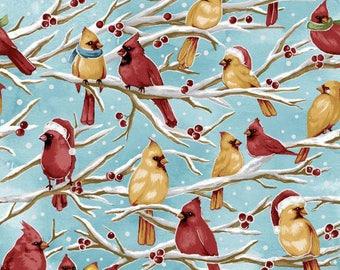 Fabriquilt - Season Greetings - Sky Birds - Christmas Holiday - Fabric by the yard 103-63620