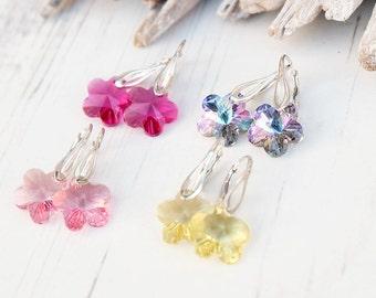 Small Sterling Silver Swarovski Crystal Earrings-Swarovski Flower Jewellery-Kids Earrings-Drop Yellow Pink Fuchsia Purple Flower Earrings