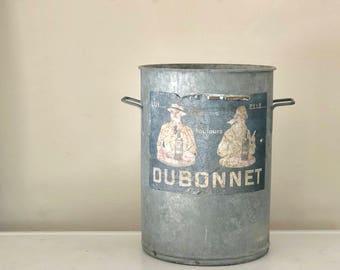 Vintage Galvanized Bucket, Dubonnet, French Bucket, French Pail plus ONE Vintage European Brick Mold