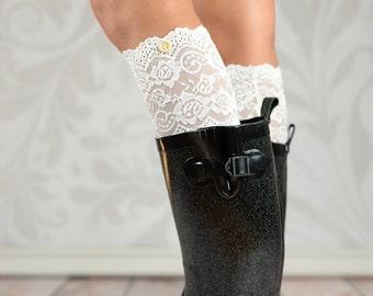 Sara's White Button Lace Boot Cuffs