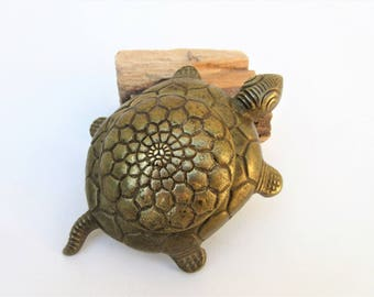 Vintage Brass Turtle Box | Brass Turtle Dish | Small Metal Turtle | Brass Box with Lid | Ring Box | Brass Animal Box | Trinket Box