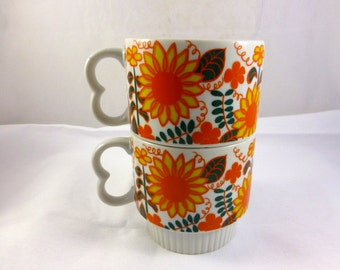 Pair of Large 1970s Coffee Mugs or Cups