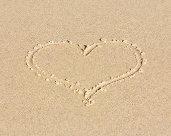 Heart in Sand Photo Beach Art, Coastal Wall Art, Beach Photography, Heart Print, Tan Cape Cod Wall Art, Valentine's Day Romantic Art, Love