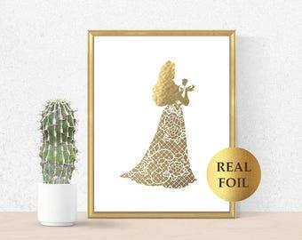 Aurora Print, Aurora Gold Princess, Aurora Real Gold Foil, Princess Art Print, Aurora decor, Princess Party, sleeping beauty print, kids art