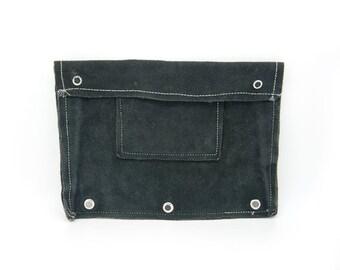 Vintage black suede pouch wallet. Pocket wallet. Pencil case. vintage school.
