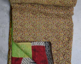Indian Handmade Quilt Vintage Twin Kantha Bedspread Throw Cotton Blanket 2491 BY artisanofrajasthan