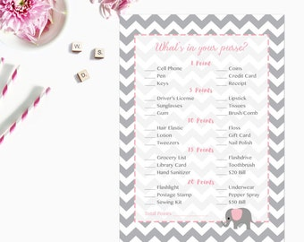 Pink Elephant What's in Your Purse Game, Whats in Your Purse Baby Shower Game, Gray Grey Chevron Instant Download  Printable227