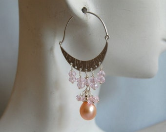 Cultured pink fresh water pearl  and pink quartz chandelier earrings