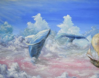 """Original Painting 50x100 cm Oil on canvas """"Whales in sky''"""