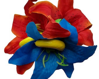 10% off with the code BDAY10 Fruity Triple Lily Hair Flower Fascinator Pin Up Rockabilly