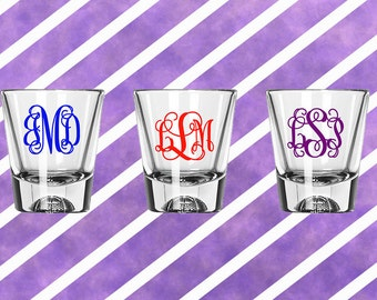 Shot Glass Monogram - Completely Customizable, 3 letter monogram, decal, glass not included