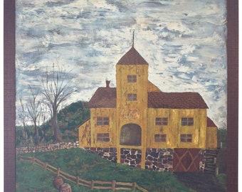 Huge Primitive Folk Painting of Historic Cider Mill