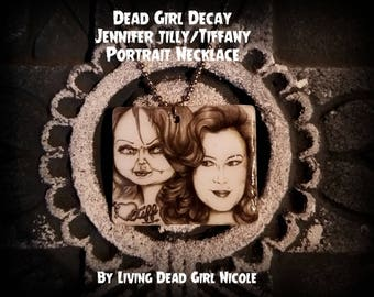"""Portrait On Necklace : """"Barbie... Eat Your Heart Out"""" - Jennifer Tilly Tiffany Tiff Bride Of Chucky Child's Play"""