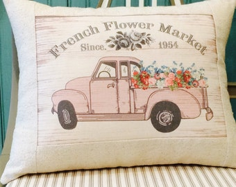 Pink Vintage Chevy Pickup Truck Farmhouse Pillow, Farmhouse Throw Pillow Cover, Cottage Style Pillow