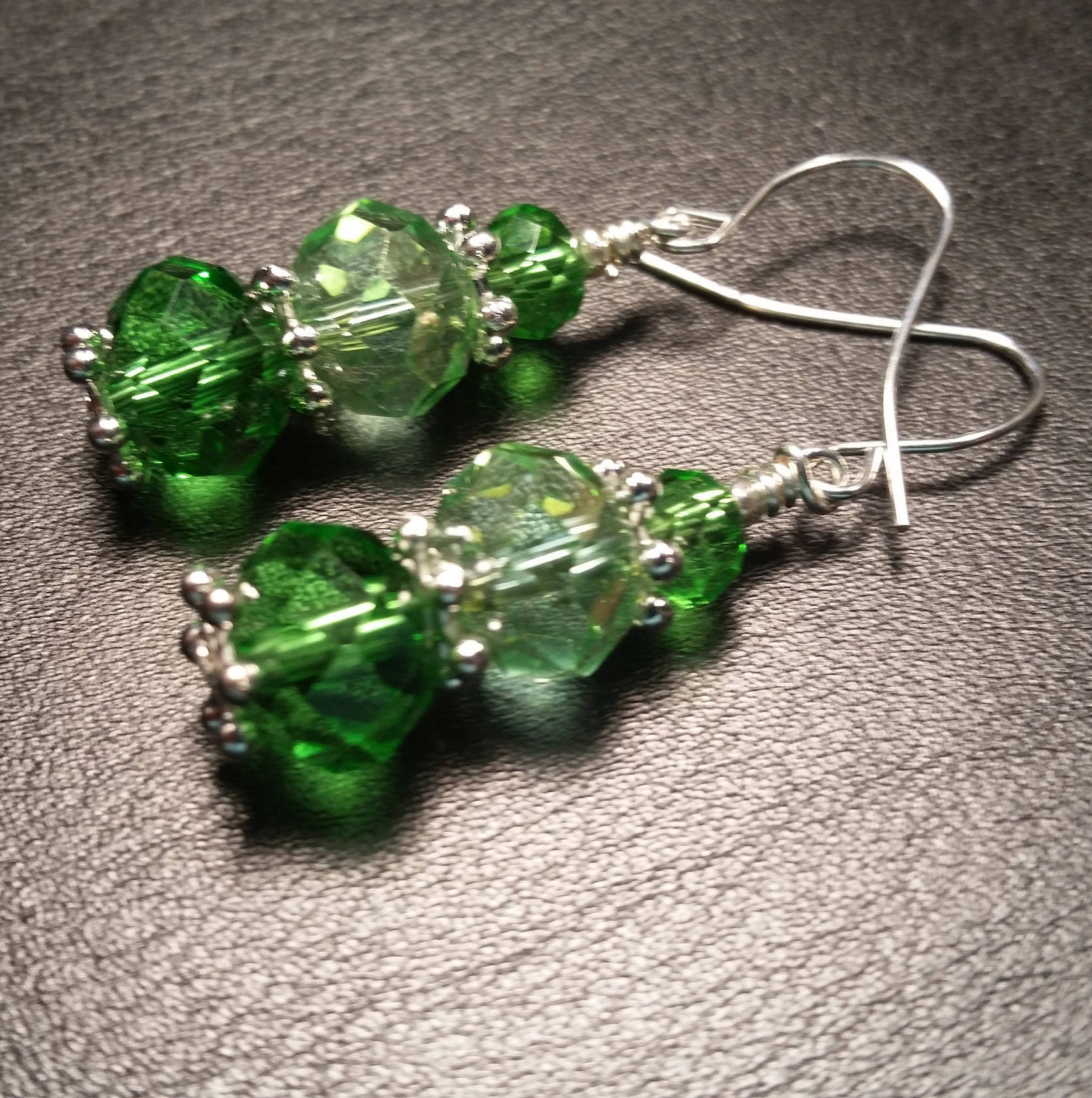 Green Crystal Glass Bead Drop Silver Plated Wire Handmade Dangle ...