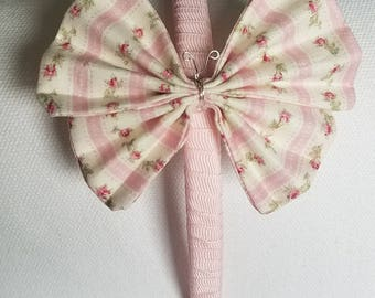 Pink Floral Butterfly Headband