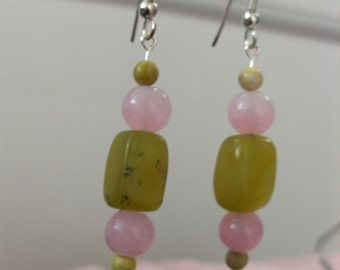 Olive Green Stone and Pink Quarz Earrings