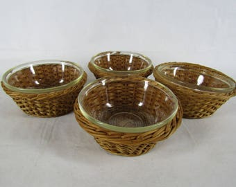 Set of 4 vintage Glasbake individual serving dishes with woven baskets
